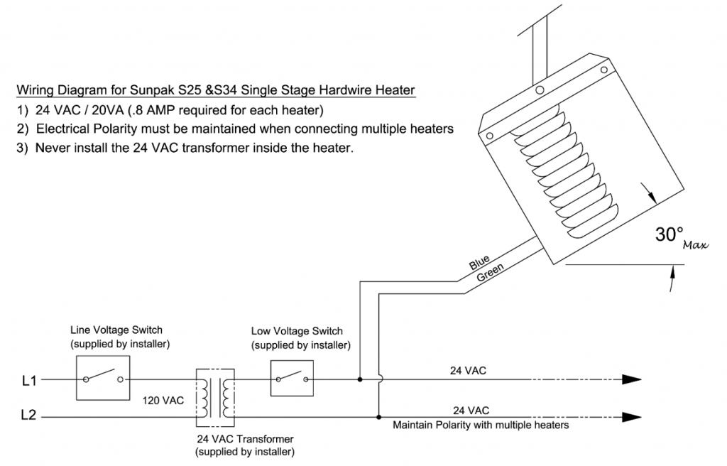 wiring diagram -single stage heater